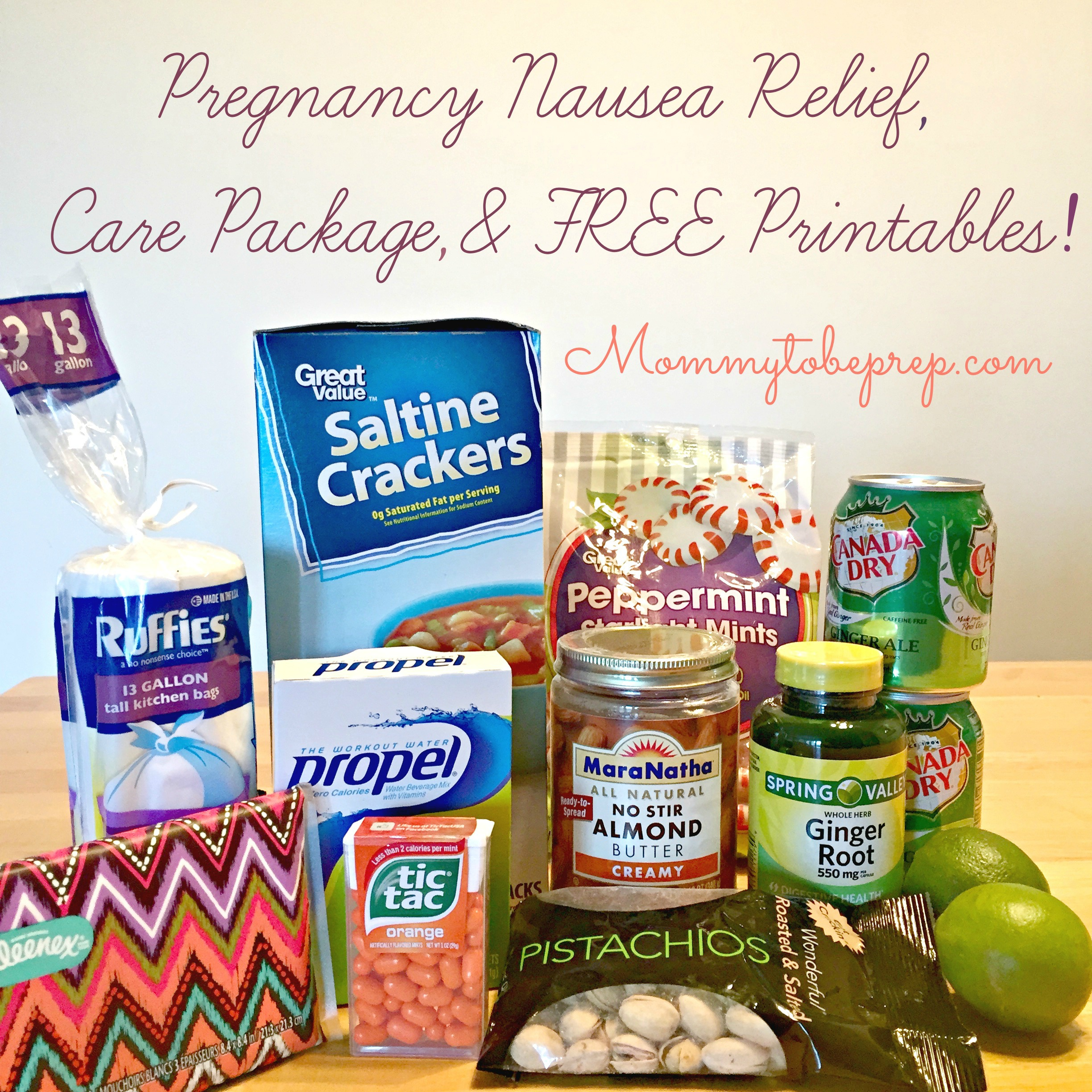 Pregnancy Nausea Relief, Care Package, & Free Printables