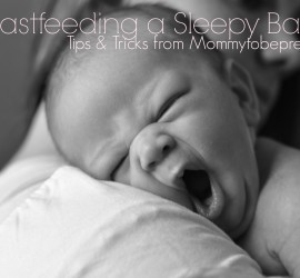 Breastfeeding a sleepy baby